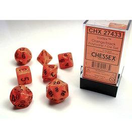 Chessex Polyhedral Dice Set: Vortex Orange (7)