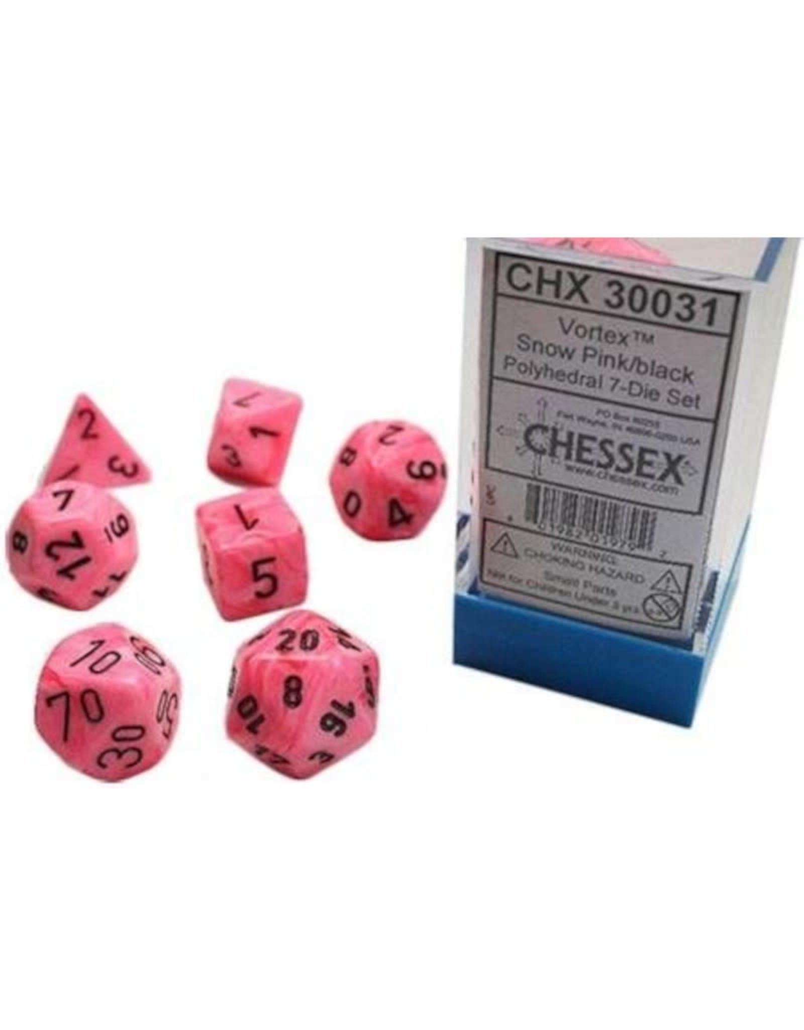 Chessex Polyhedral Lab Dice: Snow Pink/Black (7)