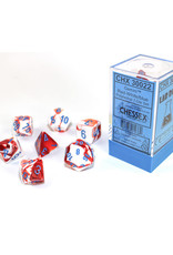 Chessex Polyhedral Lab Dice: Gemini Red/White/Blue (7)