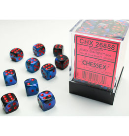 Chessex D6 Dice: 12mm Gemini Black Starlight/Red (36)