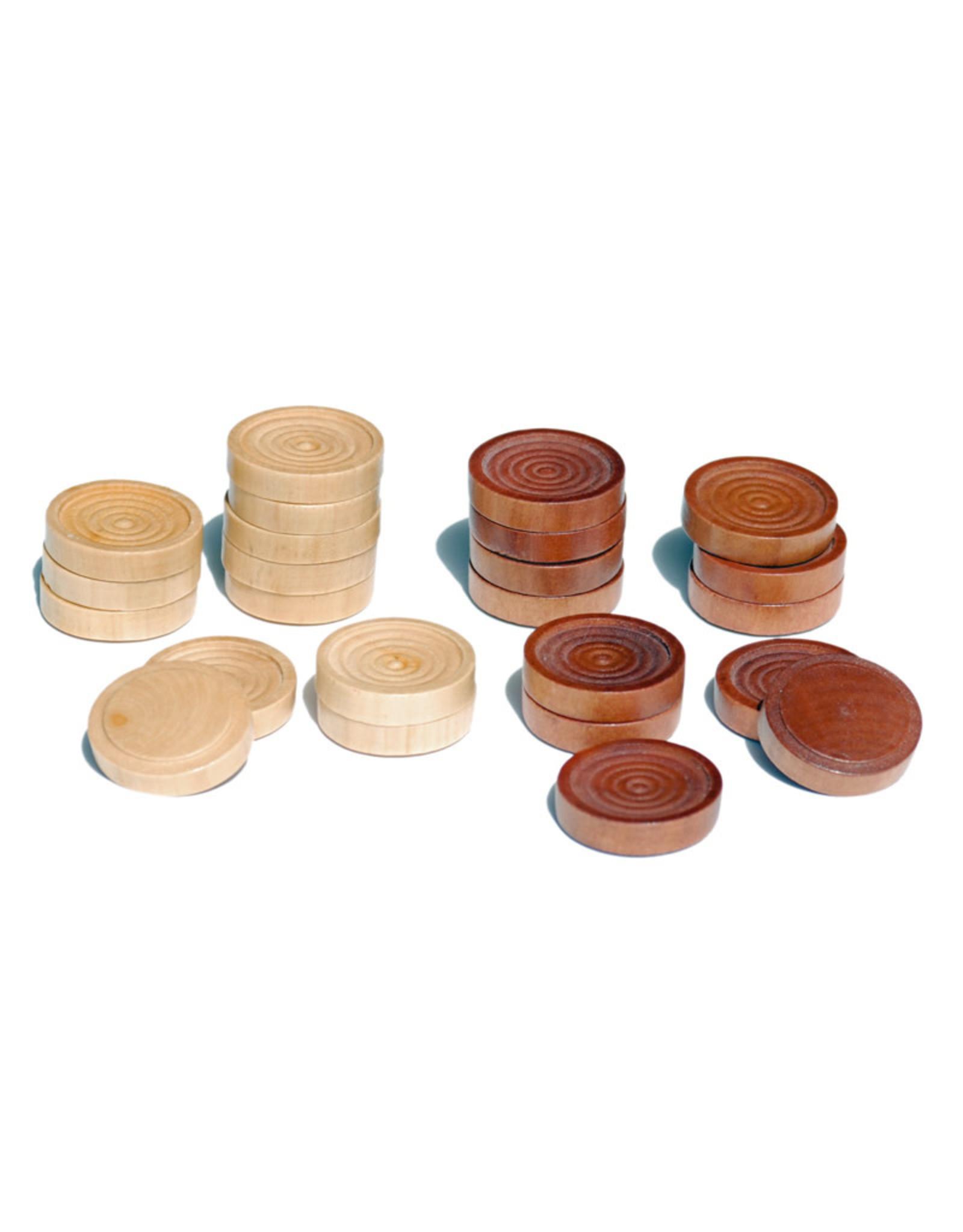 Checkers Set 12 Inch Walnut Natural Wood