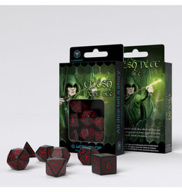 Q Workshop Elvish Dice Set Black/Red (7)