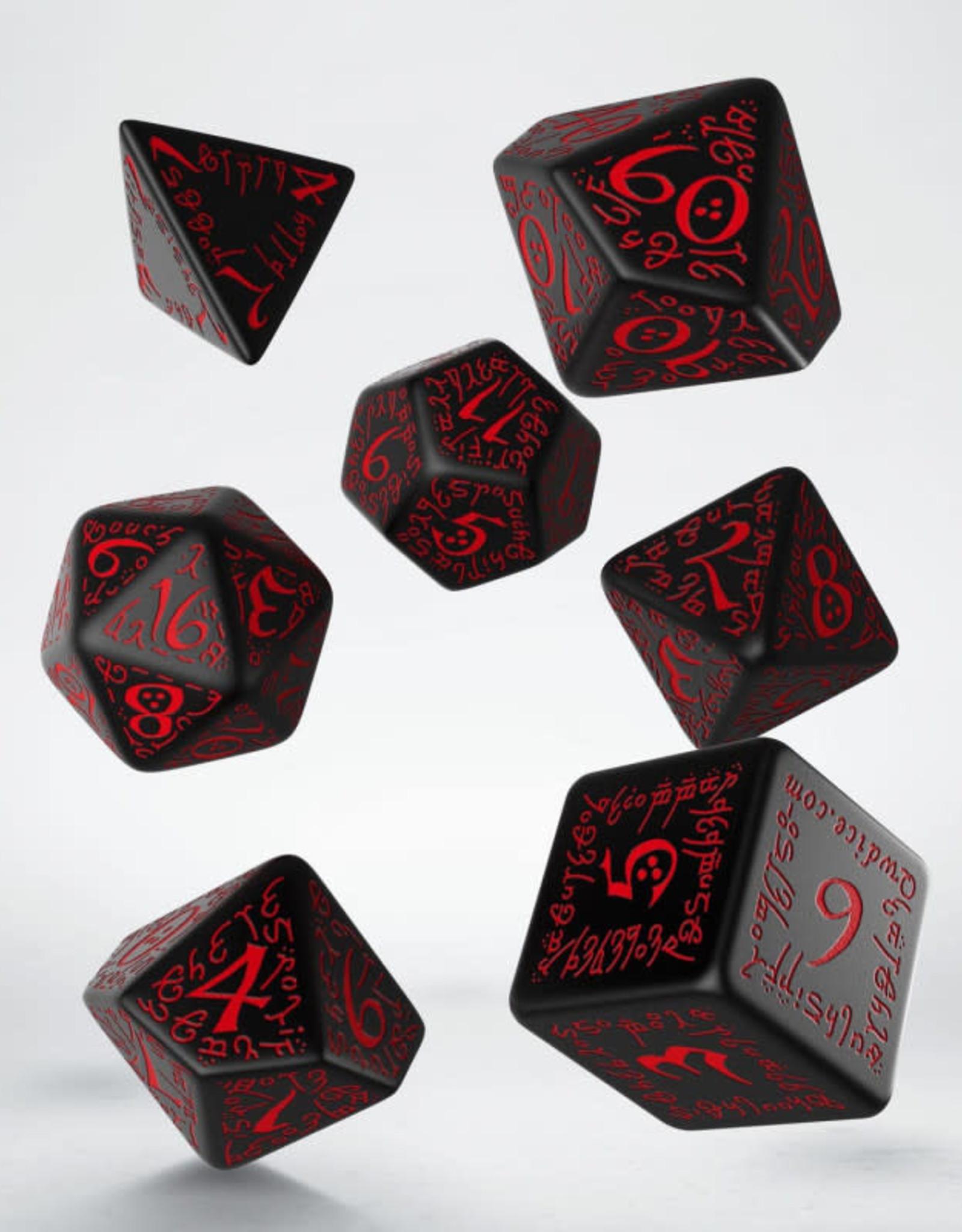 Q Workshop Elvish Dice Set Black/Red (7)