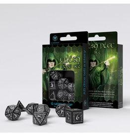 Q Workshop Elvish Dice Set Black/White (7)