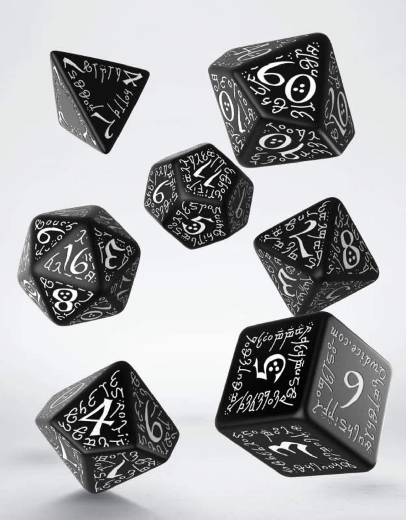 Q Workshop Elvish Dice Set Black/White (7)