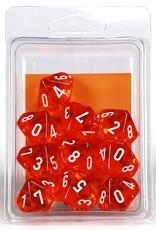Chessex D10 Dice: Translucent Orange (10)