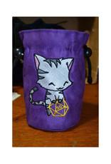 Miscellaneous Dice Bag: Uber Dungeon Large Black Cat w/ Purple