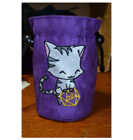 Miscellaneous Dice Bag: Uber Dungeon Large Black Cat w/ Purple