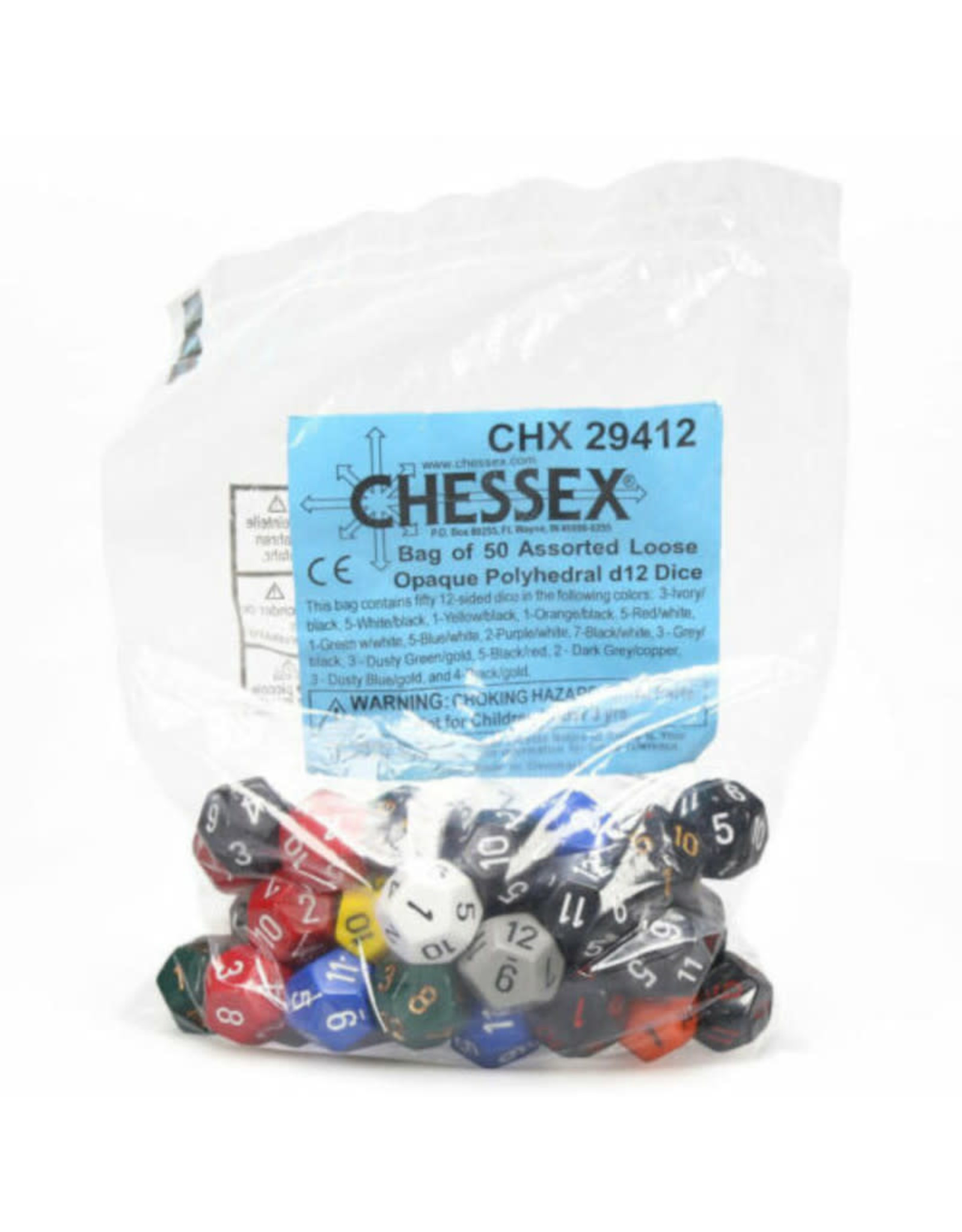 Chessex Assorted D12 Dice: Bag of Opaque Dice (50)