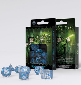 Q Workshop Elvish Dice Set Transparent/Blue (7)