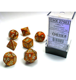 Chessex Polyhedral Dice Set: Glitter Gold/Silver (7)