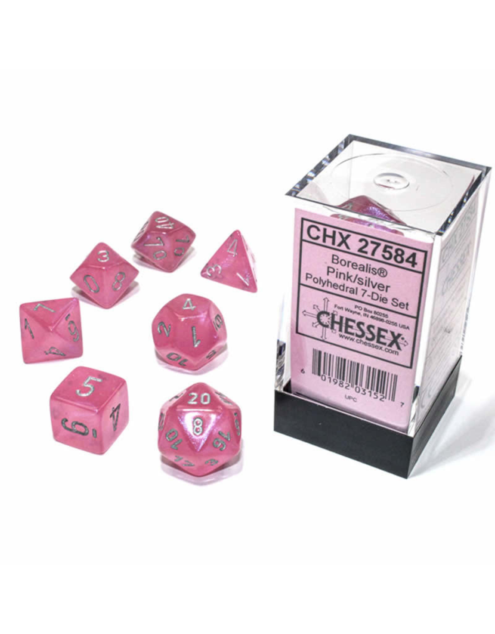 Chessex Polyhedral Dice Set: Borealis Pink Set (7)