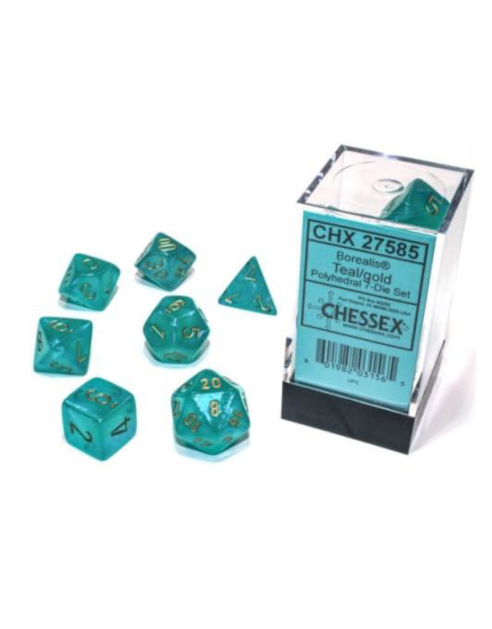 Chessex Polyhedral Dice Set: Borealis Teal Set (7)