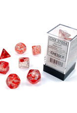 Chessex Polyhedral Dice Set: Luminary Red/Silver (7)