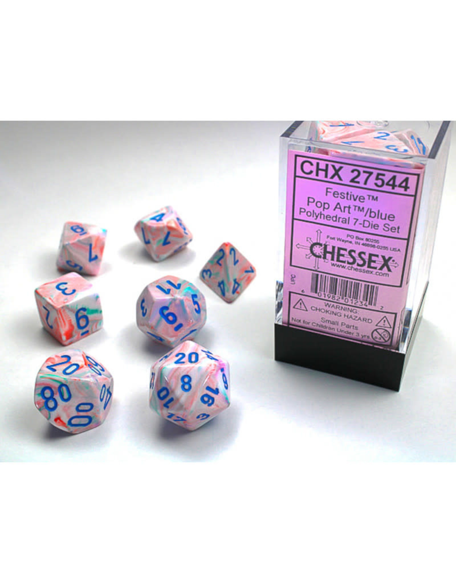 Chessex Polyhedral Dice Set: Festive Pop Art/Blue (7)