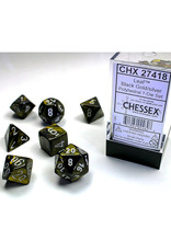 Chessex Polyhedral Dice Set: Leaf Black/Gold/Silver (7)