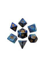 Metallic Dice Games Mini Polyhedral Dice Set: Blue/Light Blue