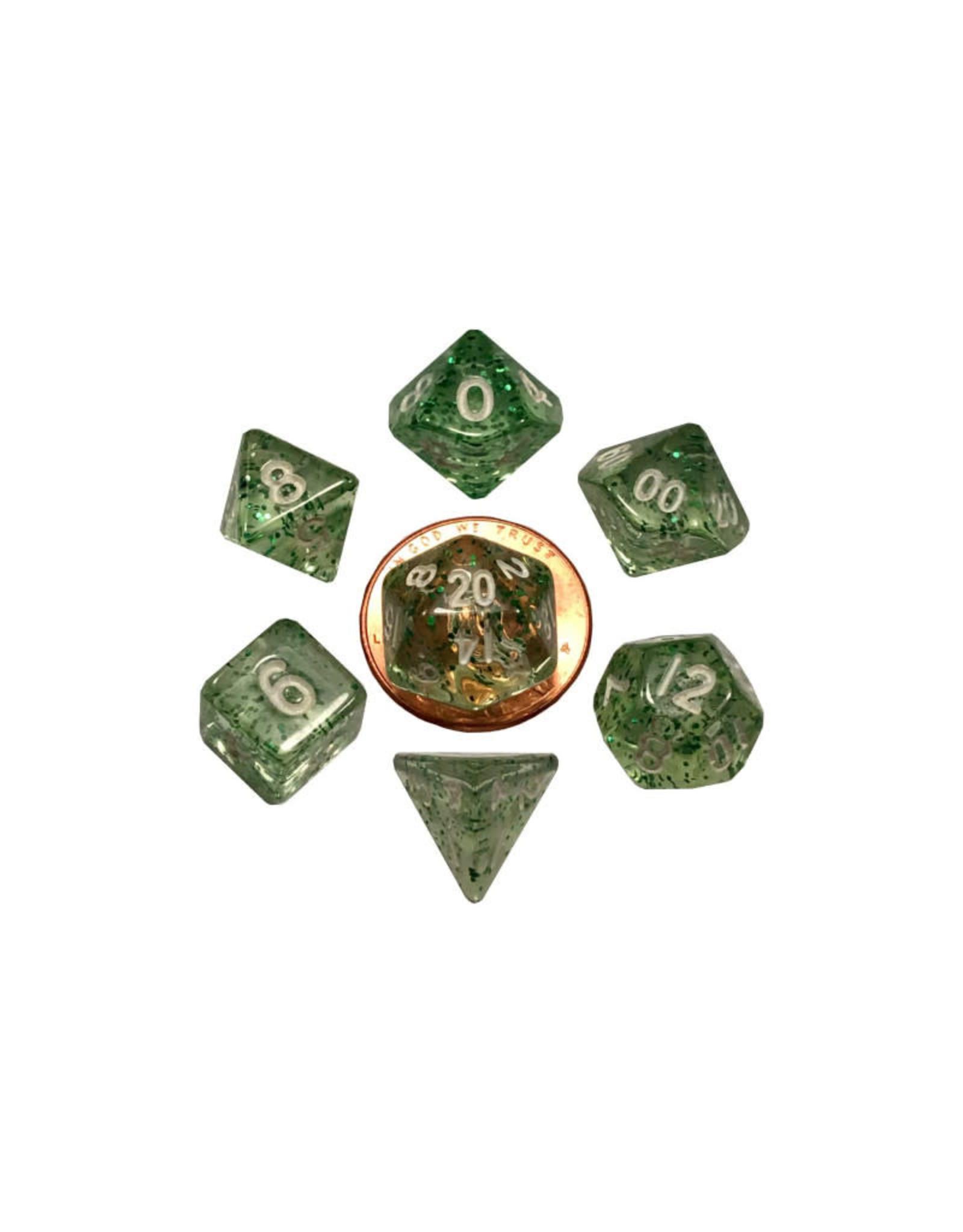 Metallic Dice Games Mini Polyhedral Dice Set: Ethereal Green