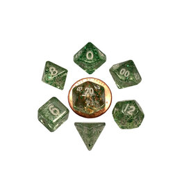 Metallic Dice Games Mini Polyhedral Dice Set: Ethereal Green
