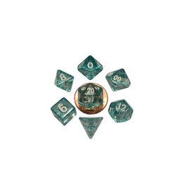 Metallic Dice Games Mini Polyhedral Dice Set: Ethereal Light Blue