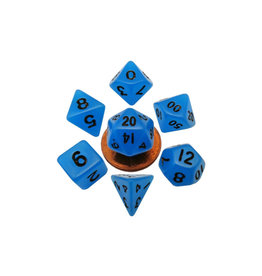 Metallic Dice Games Mini Polyhedral Dice Set: Blue Glow