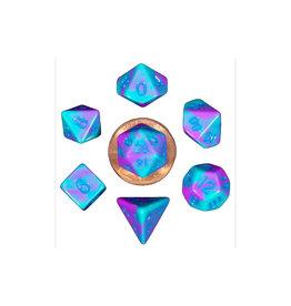 Metallic Dice Games Mini Polyhedral Dice Set: Purple/Teal