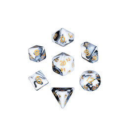 Metallic Dice Games Mini Polyhedral Dice Set: Marble with Gold