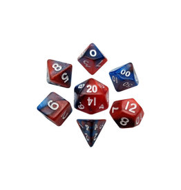 Metallic Dice Games Mini Polyhedral Dice Set: Red/Blue