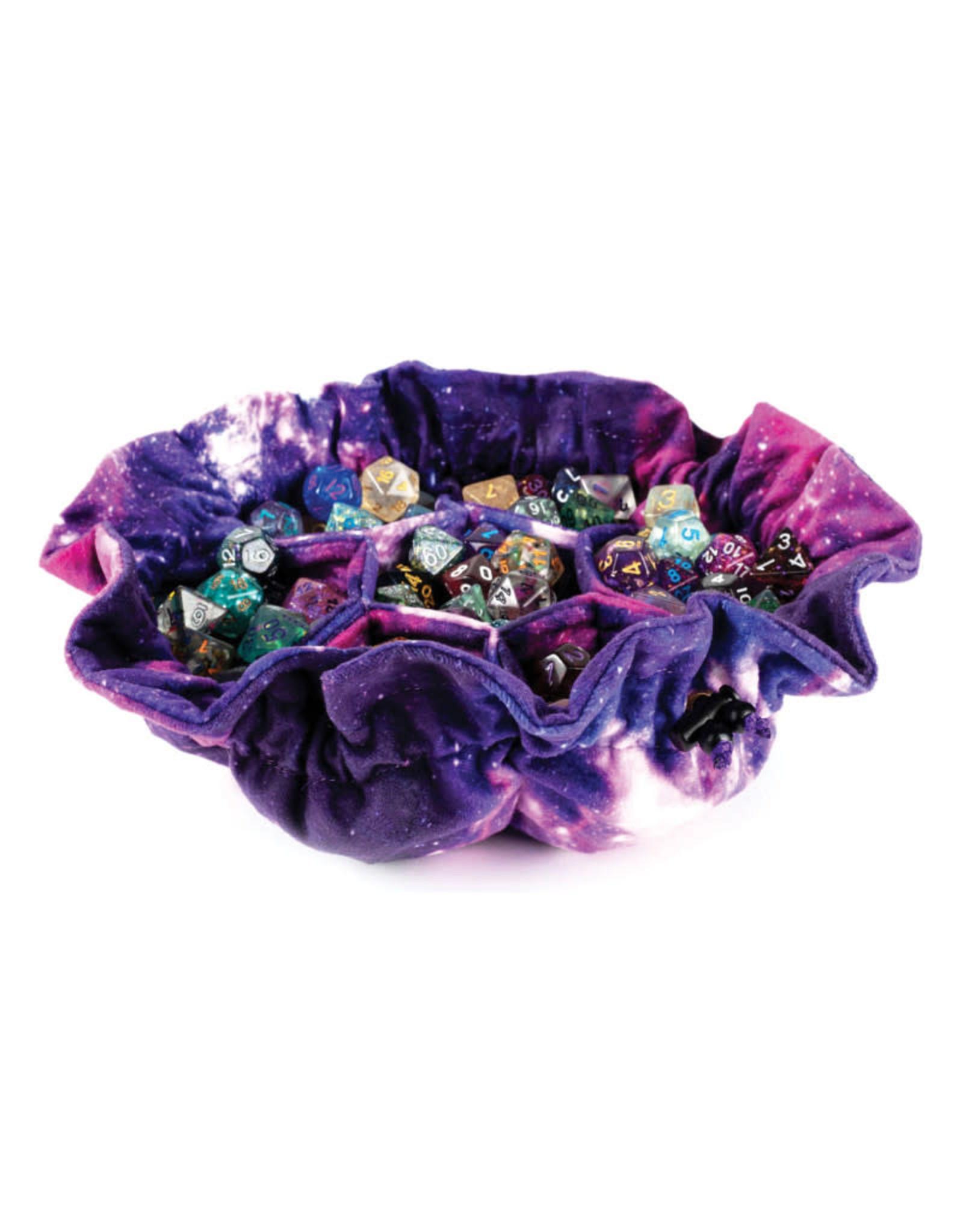 Metallic Dice Games Dice Bag: Velvet Compartment with Pockets: Nebula