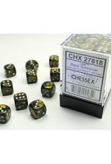 Chessex D6 Dice: 12mm Leaf Black/Gold (36)