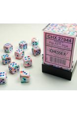 Chessex D6 Dice: 12mm Menagerie Festive Pop Art/Blue (36)