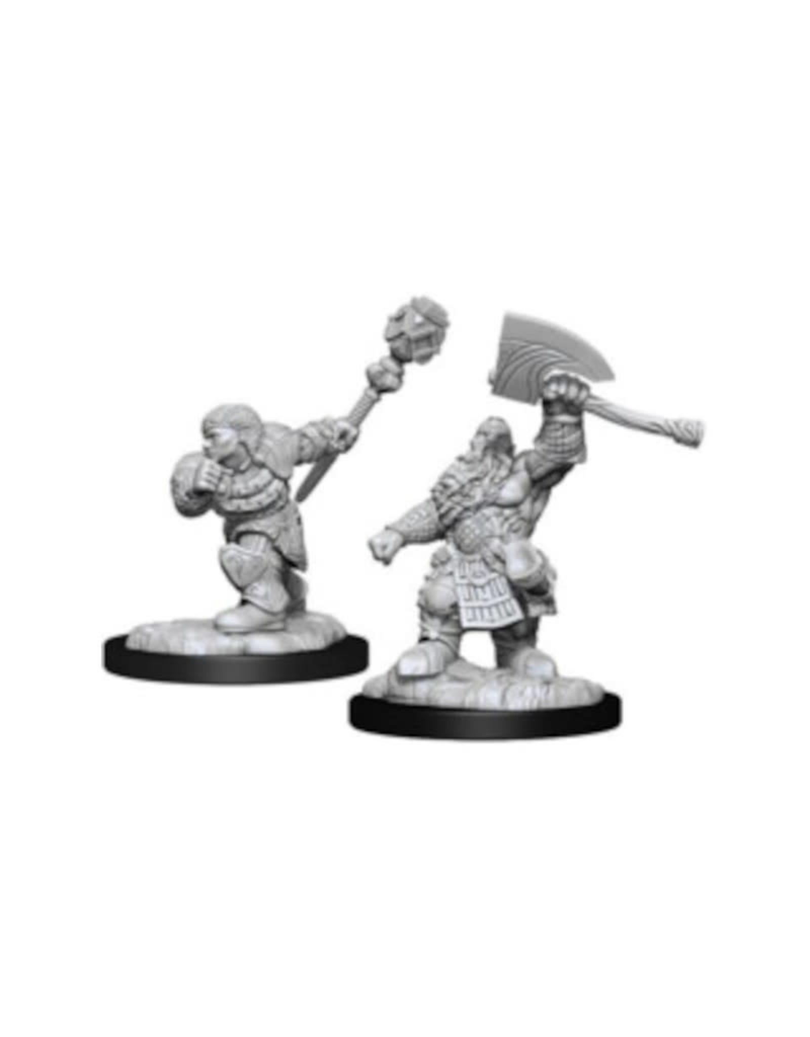 Wizkids MTG Unpainted Mini: Dwarf Fighter & Cleric