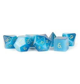 Metallic Dice Games Stone Polyhedral Dice Set: Engraved Aquamarine (7)