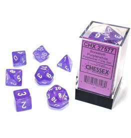 Chessex Polyhedral Dice Set: Borealis Purple /White (7)