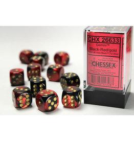Chessex D6 Dice: 16mm Gemini Black/Red (12)