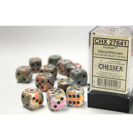 Chessex D6 Dice: 16mm Festive Vibrant (12)