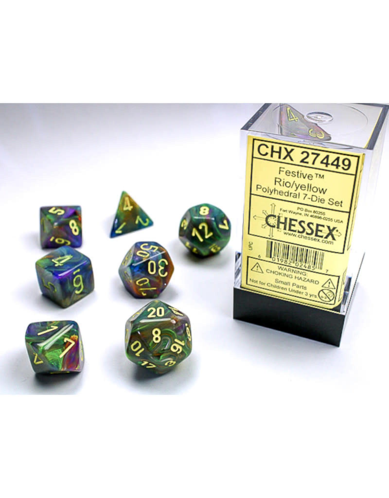 Chessex Polyhedral Dice Set: Festive Rio (7)