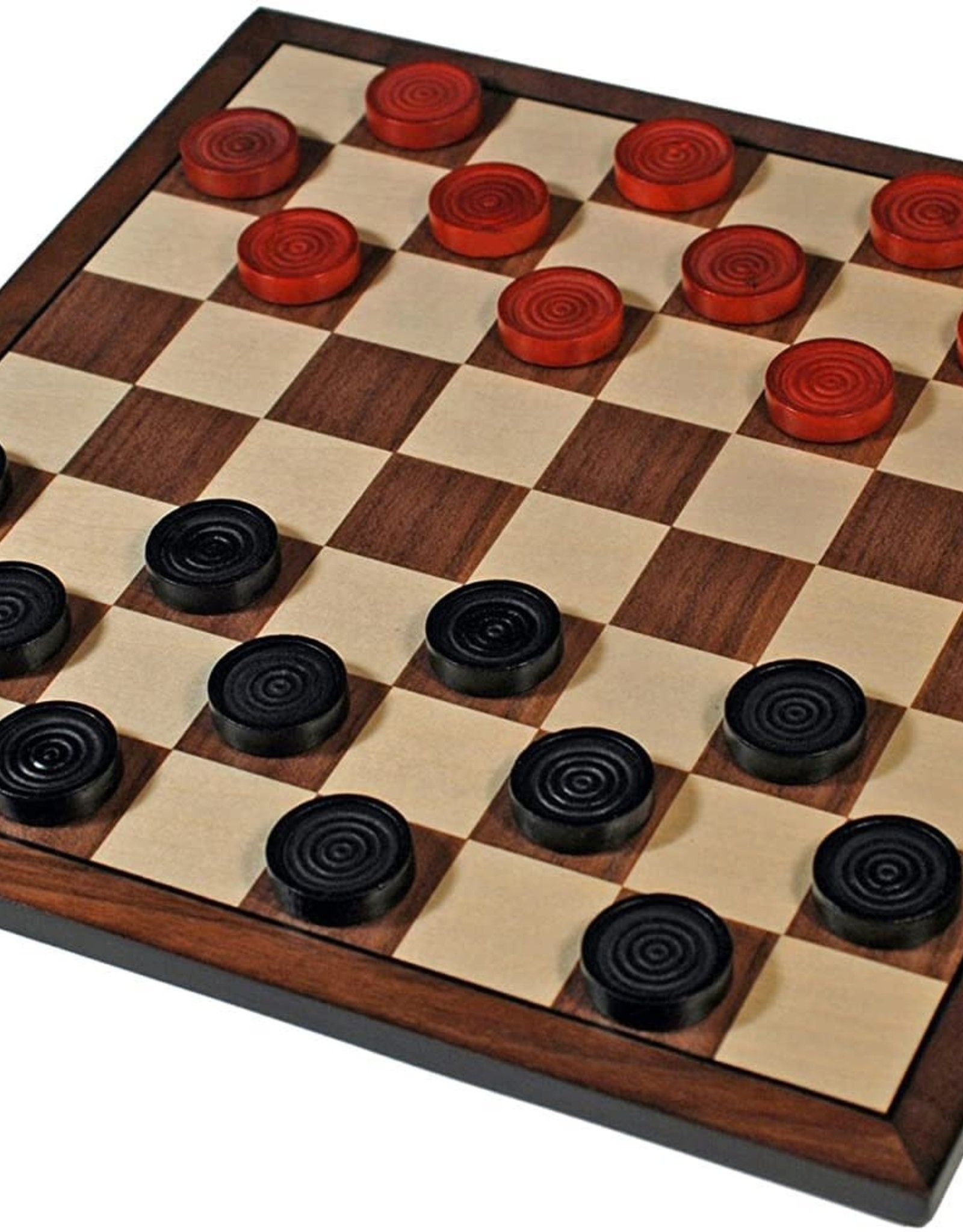 Checkers Set: Black and Red Wooden Board