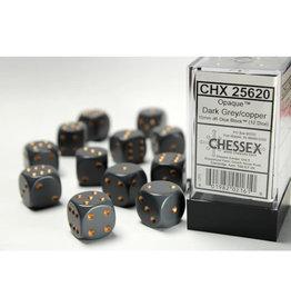 Chessex D6 Dice Set: Opaque 16mm Dark Copper (12)