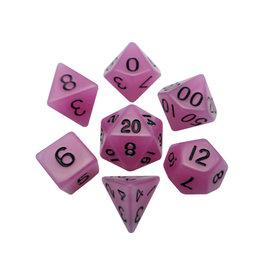 Metallic Dice Games Mini Polyhedral Dice Set: Purple Glow