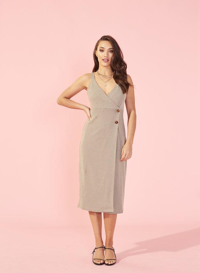 Side Button Midi Dress