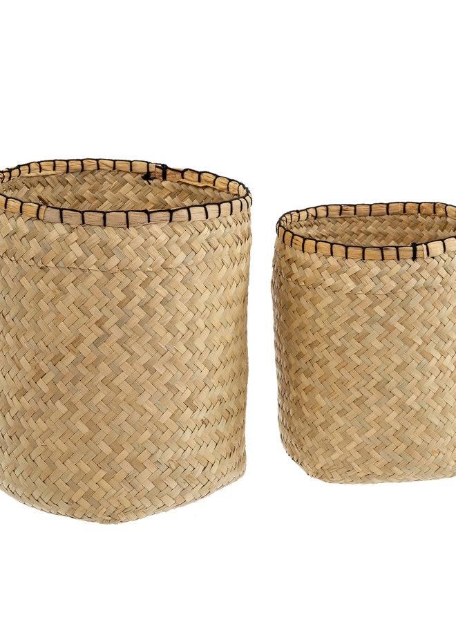 Blanket Stitch Tall Basket - S