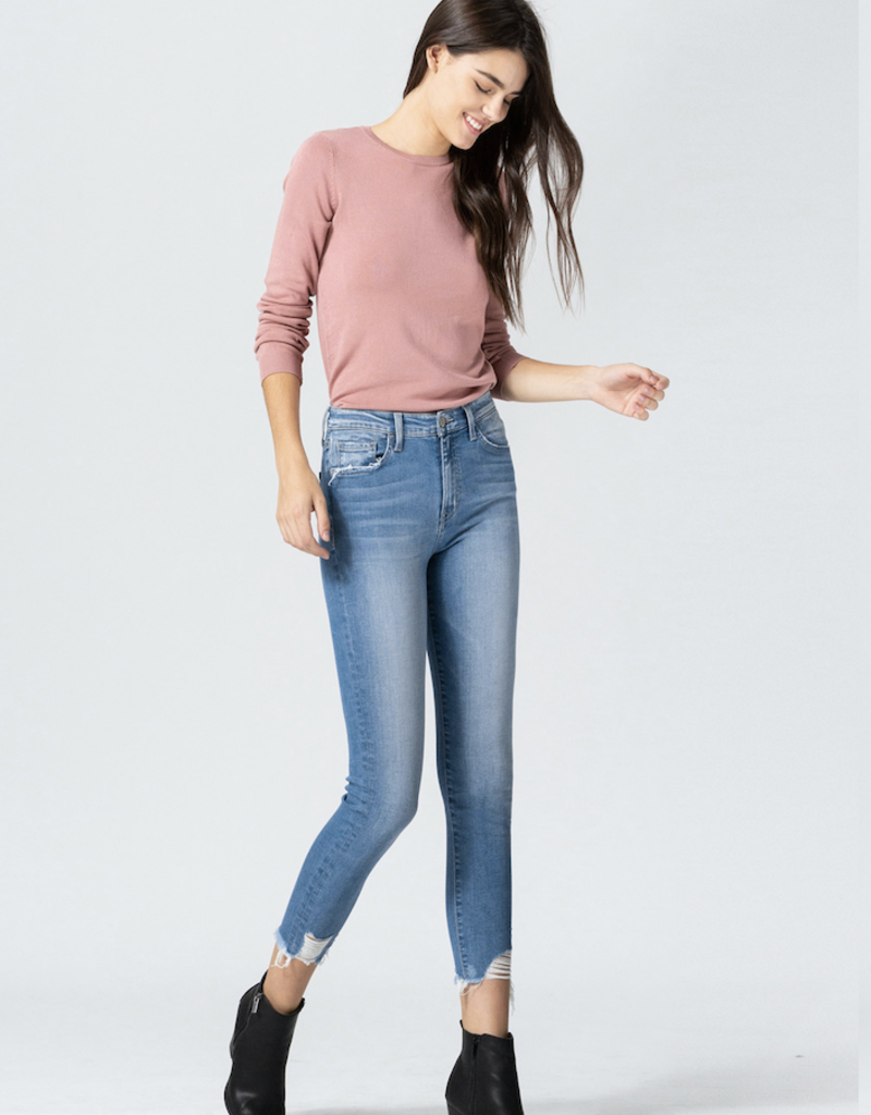 flying monkey high rise uneven hem crop skinny