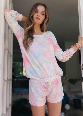 PJ rainbow lounge tie dye top