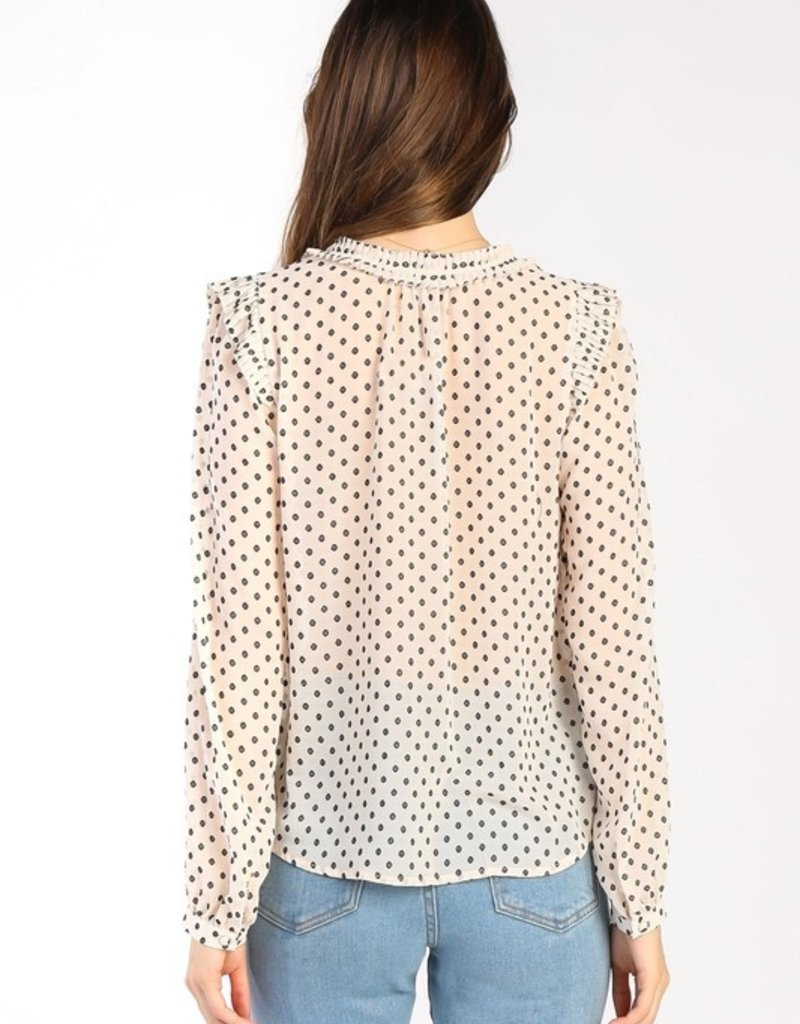 current air polka dot textured blouse