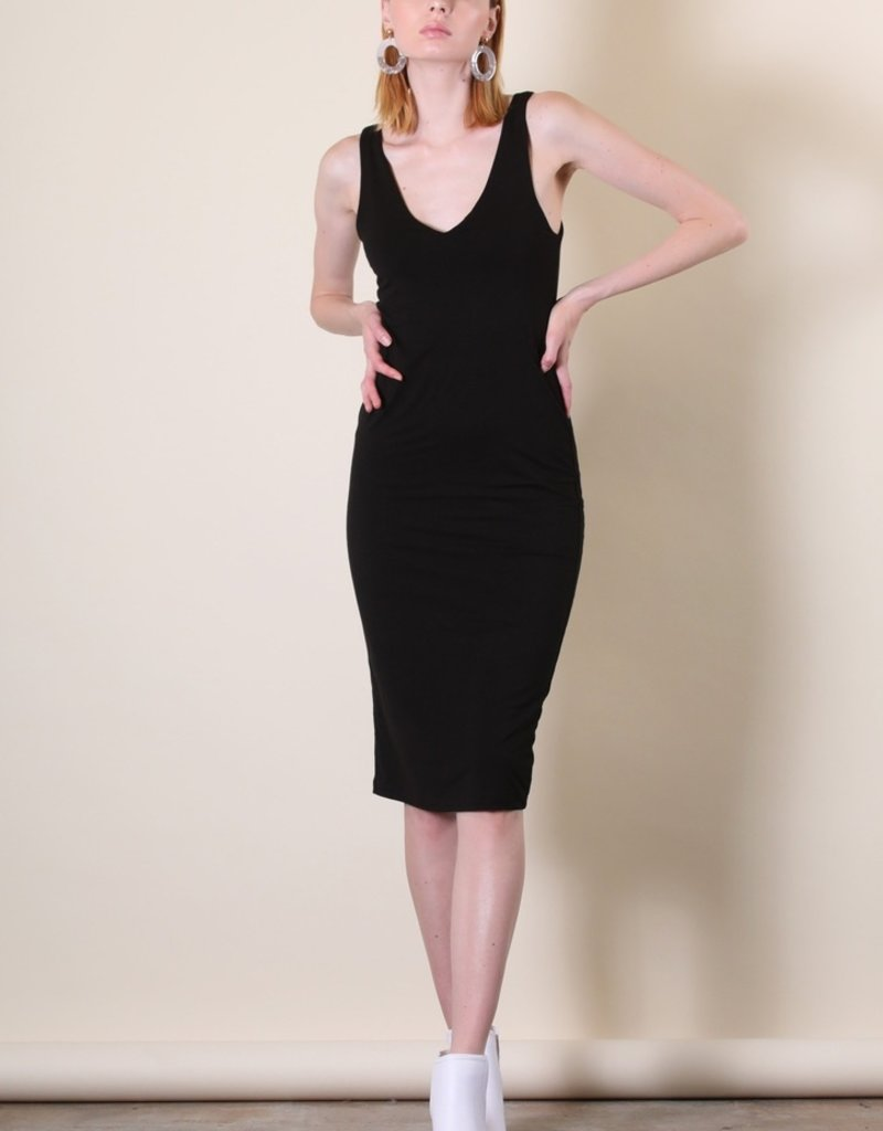 wildflower mid length v neck fitted dress