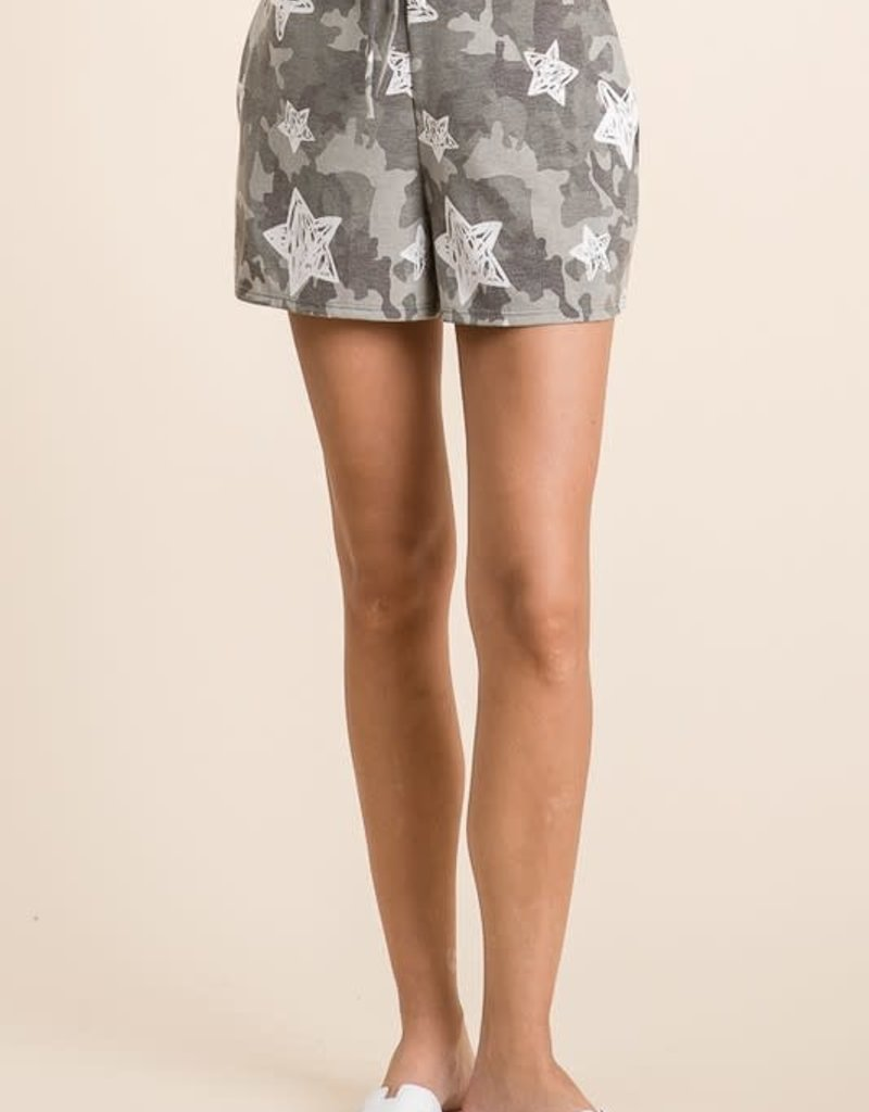 wildflower star and camo print shorts