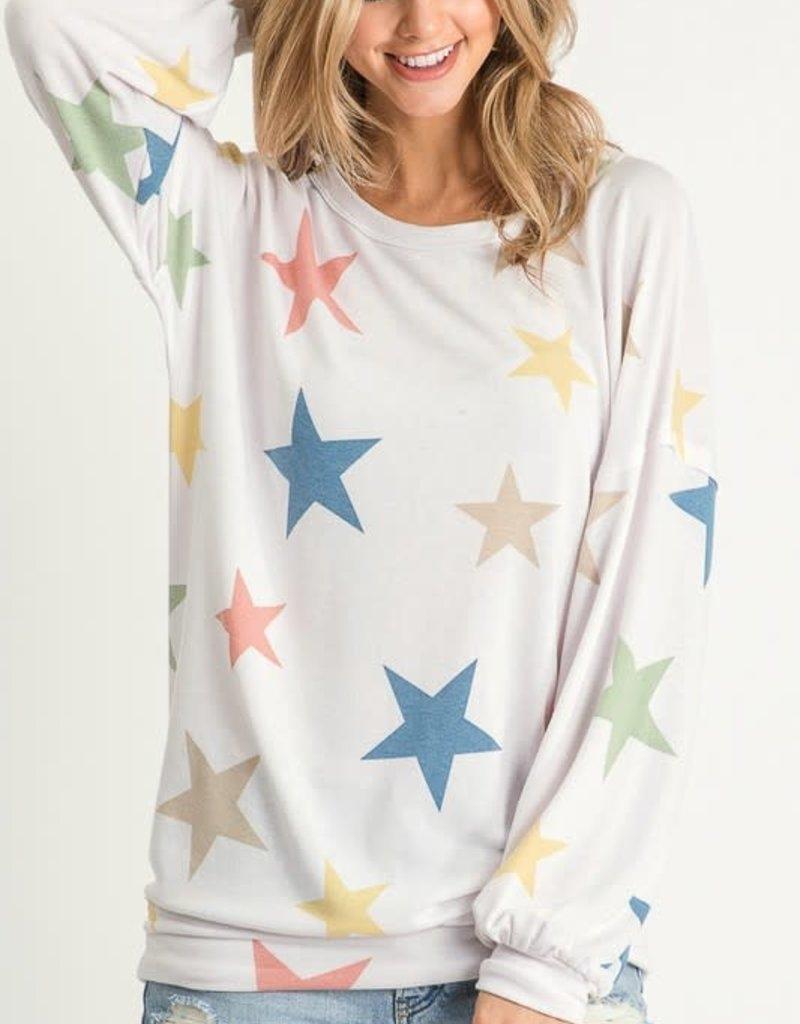 wildflower multi color star print top