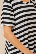 ruffle sleeve stripe soft tee