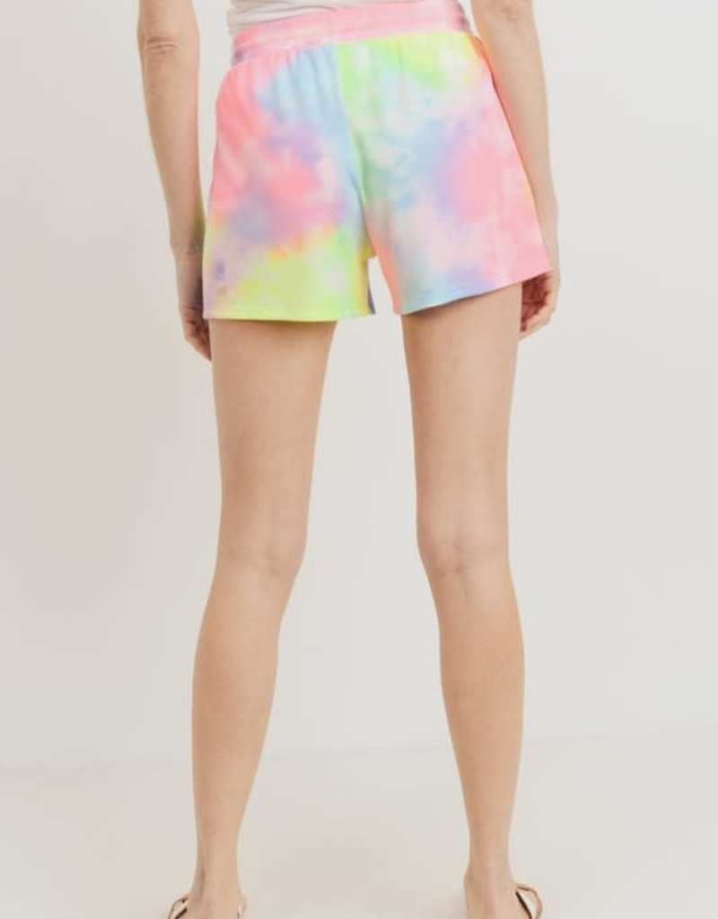 wildflower rainbow tie dye drawstring shorts